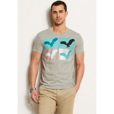 Camiseta Armani Exchange Eagle Canvas Tee HEATHER GREY A6X230 visite o site comprausa.com.br