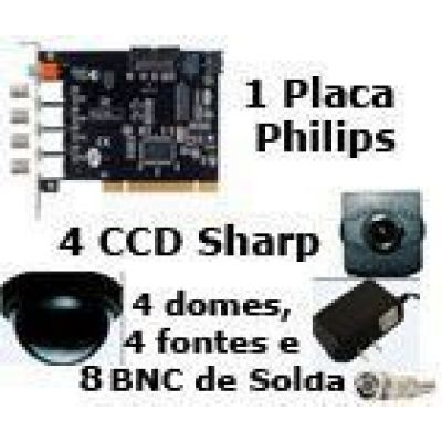 Kit 4 Câmeras CCD Dia e Noite (Placa Philips)