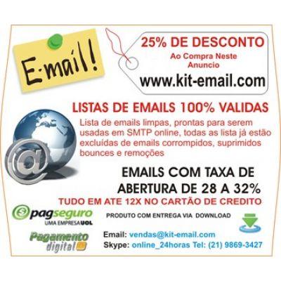 Email Marketing Segmentado, Email 100% Validos Via SMTP
