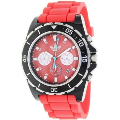 Relógio Adidas Men's Stockholm ADH2836 Red Silicone Quartz Watch with Red Dial