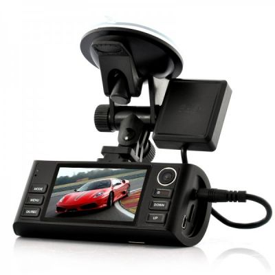 HD Dual-Camera Car DVR Napravljat - GPS Logger, G-Sensor, Night Vision, Saída HDMI, Zoom 4x.Made i